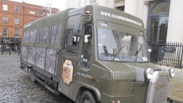A 1916 Freedom Tour bus parked outside Dublin Castle in February.