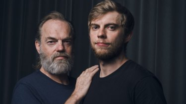 Hugo Weaving and his son Harry Greenwood, who are performing together in Cat on a Hot Tin Roof.
