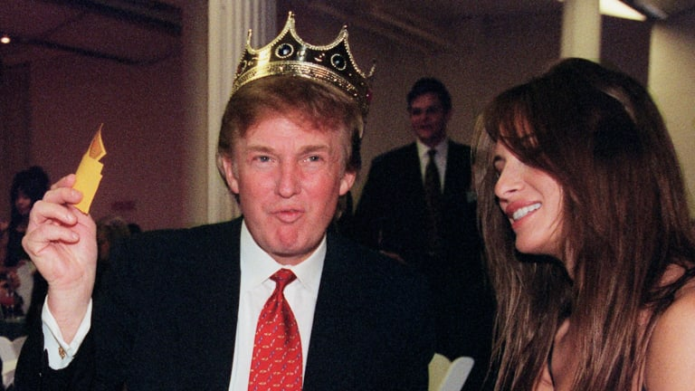 Casino and real estate developer Donald Trump with his now-wife Melania in 1999.