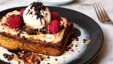 Three Williams' truffle French toast with truffle ice-cream.