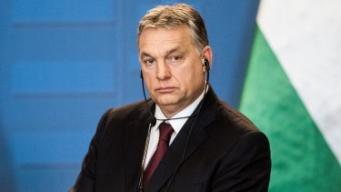 Hungarian PM Viktor Orban looks on during his press conference in Budapest.