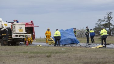 The scene of the fatal crash on the Western Highway in Ballan .