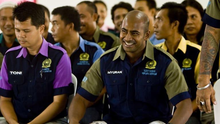 Changing lives: Myuran Sukumaran with prisoners inside Kerobokan prison.