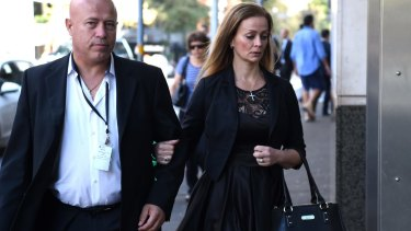 Marcia Mikhael enters the inquest into the deaths arising from the Lindt cafe siege on Tuesday.