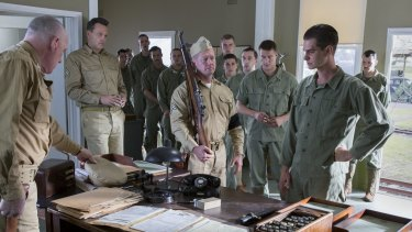 Harry Greenwood (at back) in Hacksaw Ridge with Andrew Garfield.