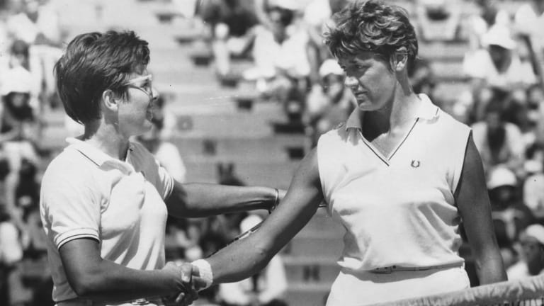 Margaret Court (right) congratulates Billie Jean King on her win in the women's singles final at Kooyong in 1968.