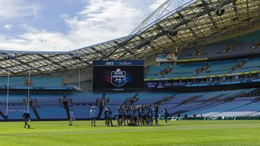 The Blues squad during the State of Origin captain's run at ANZ Stadium on Tuesday.