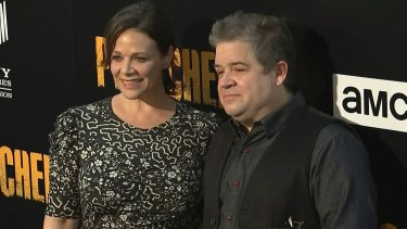 Too soon? Meredith Salenger and Patton Oswalt on the red carpet.