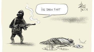 David Pope's winning cartoon 'He Drew First'.