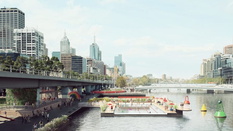 A concept for a pool on the banks of the Yarra River.