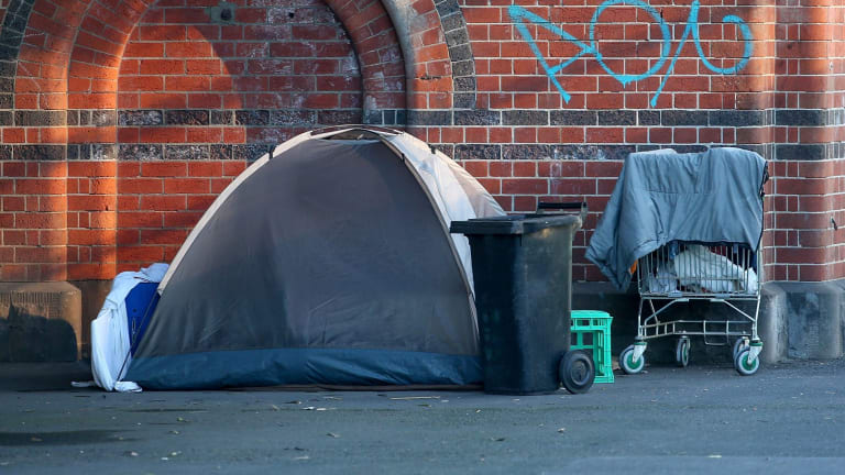 A camp set up in Melbourne.
