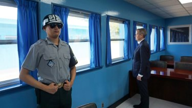 Opposition Leader Bill Shorten during a visit to the demilitarisation zone, South Korea.