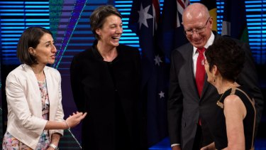 NSW Premier Gladys Berejiklian speaks with Professor Michelle Simmons, Governor David Hurley and his wife Linda after the 2017 Australia Day Address.