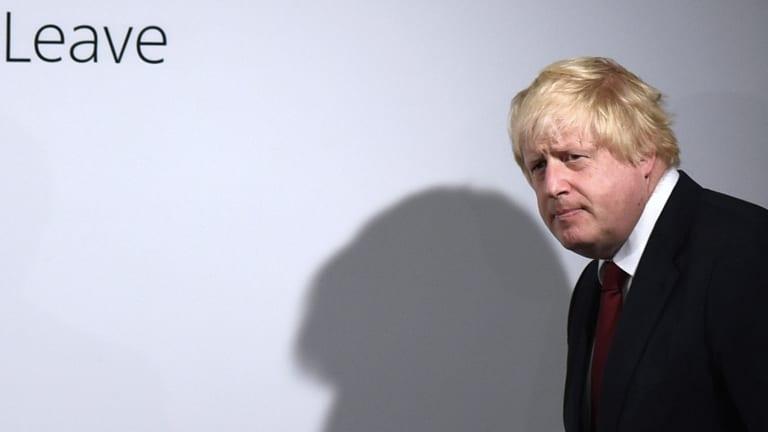 Vote Leave campaigner Boris Johnson arrives for a press conference at Vote Leave headquarters in London.
