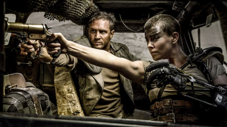 Swag of awards: Tom Hardy as Max and Charlize Theron as Furiosa in <i>Mad Max: Fury Road</i>.