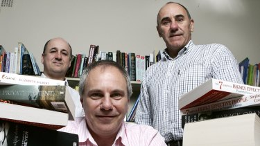 Owners of Booktopia, from left, Steve Traurig, Tony Nash and Simon Nash.