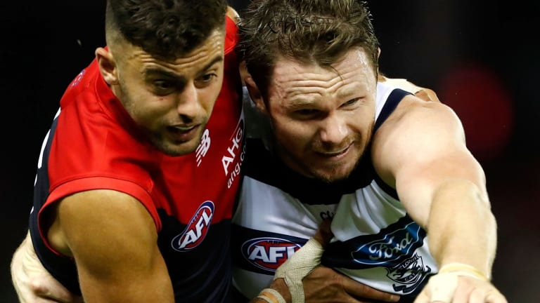 Salem in a contest with Geelong champion Patrick Dangerfield