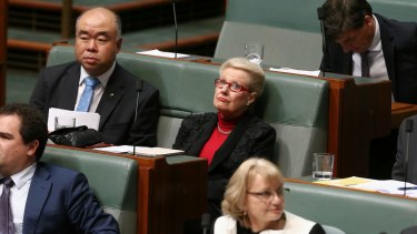 Former speaker Bronwyn Bishop during question time after returning to the backbench.