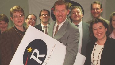 Payne (at left) with members of the Australian Republican Movement in 1995.