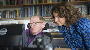 Professor Stephen Hawking with Intel principal engineer Lama Nachman.