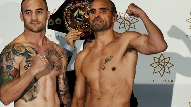 Fit and ready: Anthony Mundine (right) with Tommy Browne.
