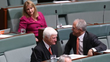 NXT MP Rebekha Sharkie sits with Prime Minister Malcolm Turnbull at Parliament House.