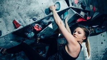 Rhodes Scholar Ashleigh Barnes is an avid rock climber at 9 degrees rock climbing gym.
