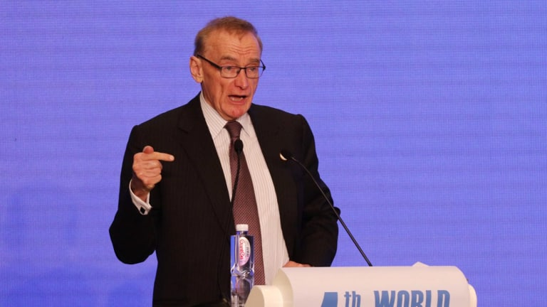 Former foreign minister Bob Carr delivering a speech on the social impact of the internet at sideline event of 4th World Internet Conference in Wuhzen China.