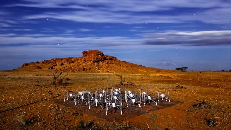 "One of the 128 radio telescope ""tiles"" at the Murchison Wide Field Array radio telescope in Western Australia."
