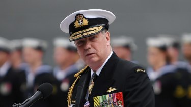 Australian Chief of Navy, Vice Admiral Tim Barrett, speaks during the commissioning ceremony of HMAS Hobart.