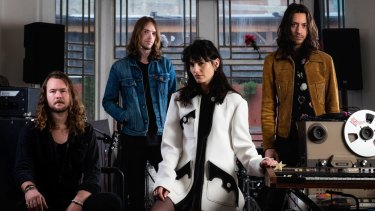 The Preatures: Thomas Champion (left), Luke Davison, Isabella Manfredi and Jack Moffitt at their studio, Hibernian House in Surry Hills.