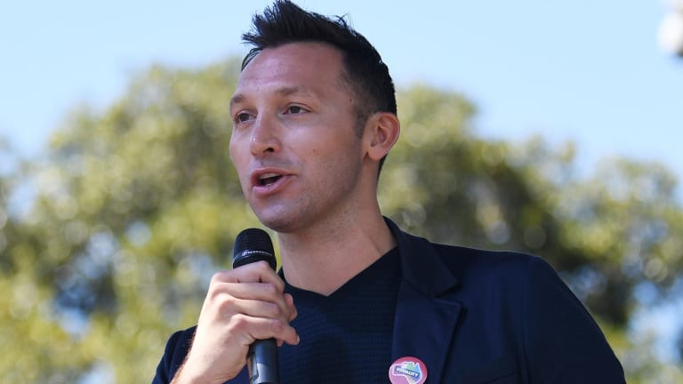 """Vocal voice: Ian Thorpe speaks after the """"yes"""" vote was declared victorious."""