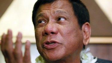 Davao City mayor Rodrigo Duterte talks to the media in Manila.