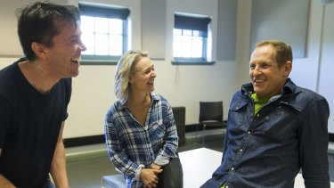 Tyran Parke, left, directs Rachel Beck and Todd McKenney in Barnum the Musical.