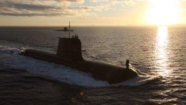 The Royal Australian Navy's HMAS Dechaineux and HMAS Waller on exercise.