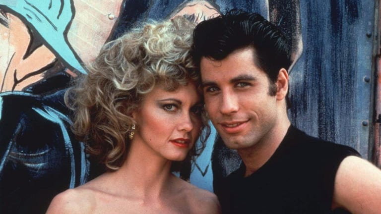 John Travolta and Olivia Newton-John in the 1978 film <i>Grease</i>.