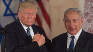 US President Donald Trump and Israeli PM Benjamin Netanyahu in Jerusalem last week.