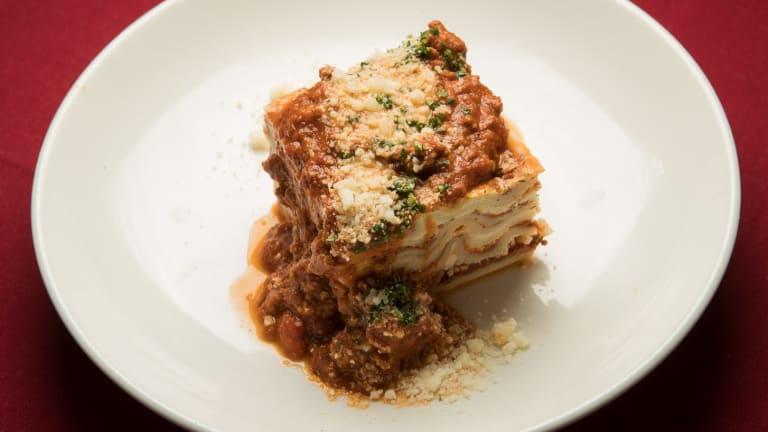 Lasagne of rib-sticking intent at Marios.