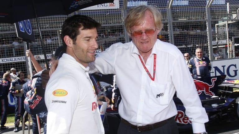 Mark Webber and Ron Walker in pit lane at the 2008 Melbourne Grand Prix.