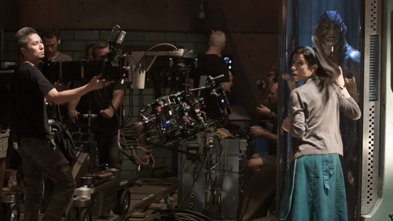 Sally Hawkins and Doug Jones on the set of Guillermo del Toro's <i>The Shape of Water</i>, a recent Technicolor project.