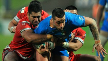 At home in blue: Paul Vaughan in Italian colours at the 2013 Rugby League World Cup.