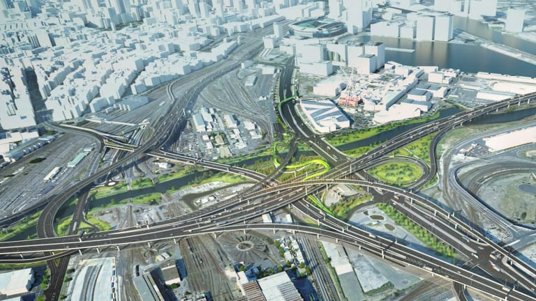 Spaghetti junction, West Melbourne. Artist's impression. Image