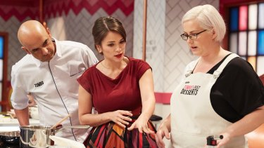 It became a TV hit: Adriano Zumbo and Rachel Khoo with the winner of <i>Zumbo's Just Desserts</i>'s Kate Ferguson.