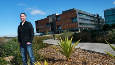Geoff McQueen outside the Innovation Campus in Wollongong. His company had three days until it became insolvent.