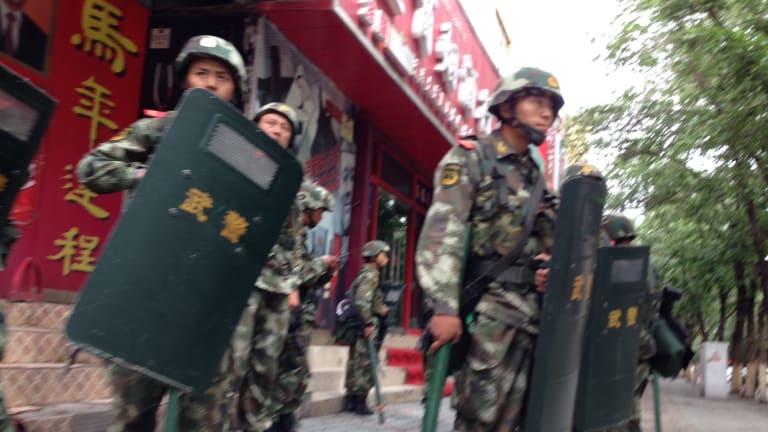 Troops on the streets Urumqi, Xinjiang.