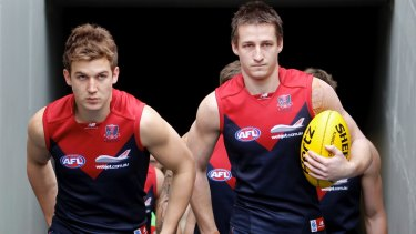Too soon: Melbourne co-captains Jack Trengove and Jack Grimes in 2012.