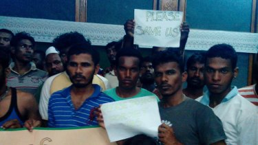 Asylum seekers from the Andika on Rote Island in June.