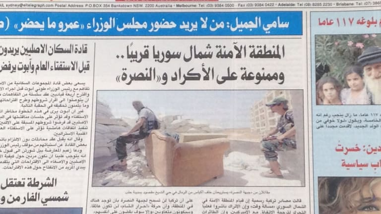 """An August 2015 front page from Australia's  Arabic-language <i>El-Telegraph</i> newspaper with the headline """"the safe zone in northern Syria is near ... and forbidden to the Kurds and Nusra""""."""