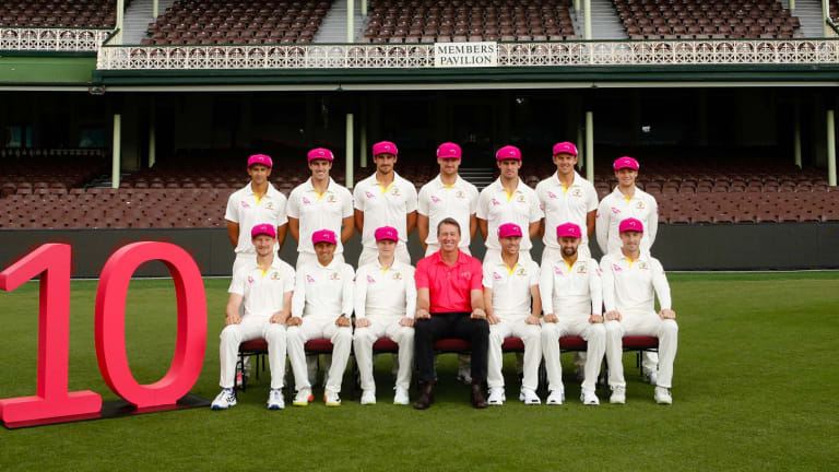 Glenn McGrath (centre) with the Australian Team in their baggy pinks, celebrating 10 years of the Sydney Pink Test.