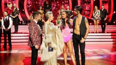 <i>Dancing With the Stars</I> hosts Grant Denyer and Amanda Keller on set.